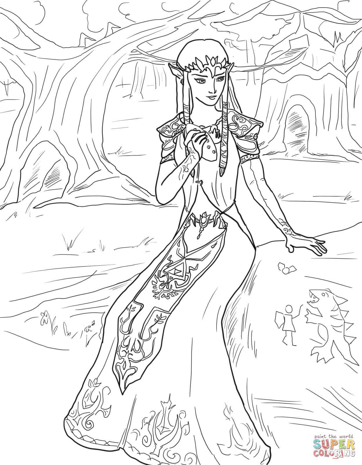 Princess Zelda coloring page.