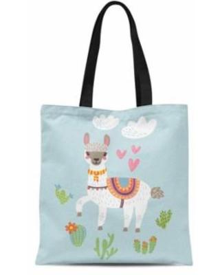 ASHLEIGH ASHLEIGH Canvas Tote Bag Clipart Llama Alpaca Lama Cute Fun  Graphic Tropical Wilderness Durable Reusable Shopping Shoulder Grocery Bag  from.