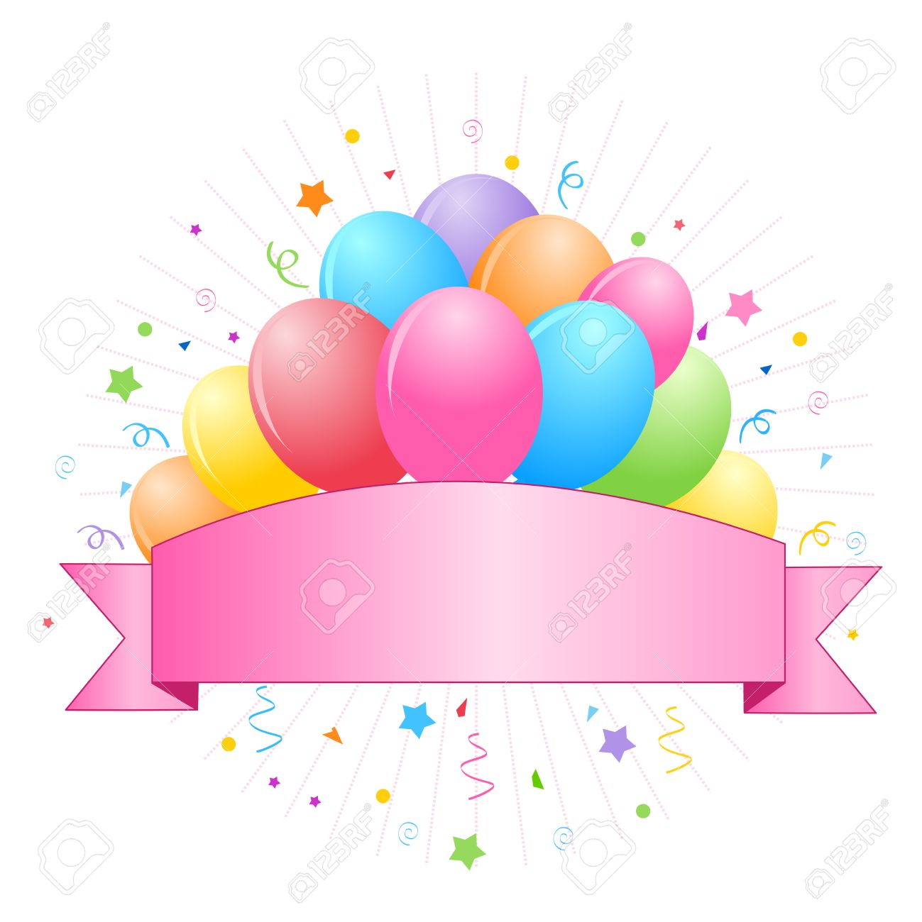 Bunch of colorful balloons with cute banner and confetti clipart...