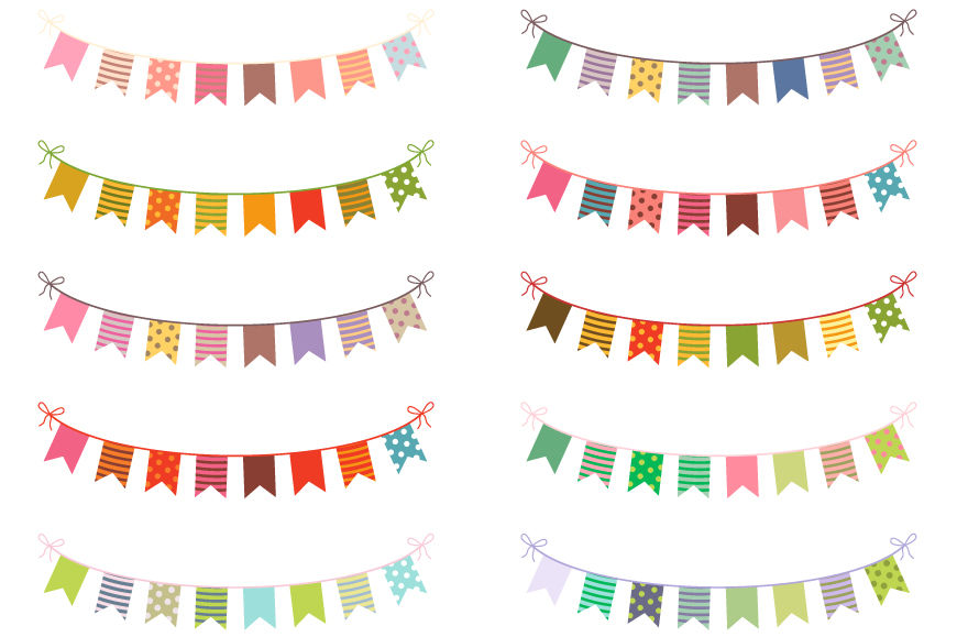 Cute colorful bunting clipart set, Birthday banner flags clip art By.