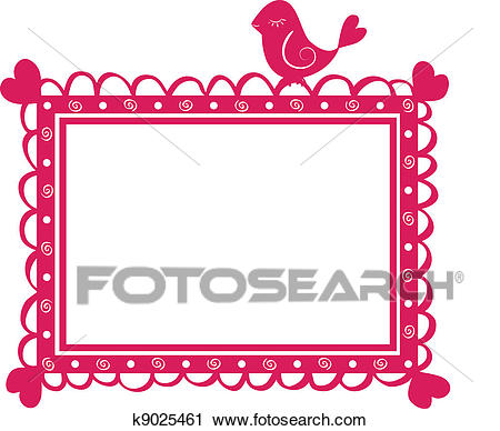 Cute banner frame with bird Clipart.