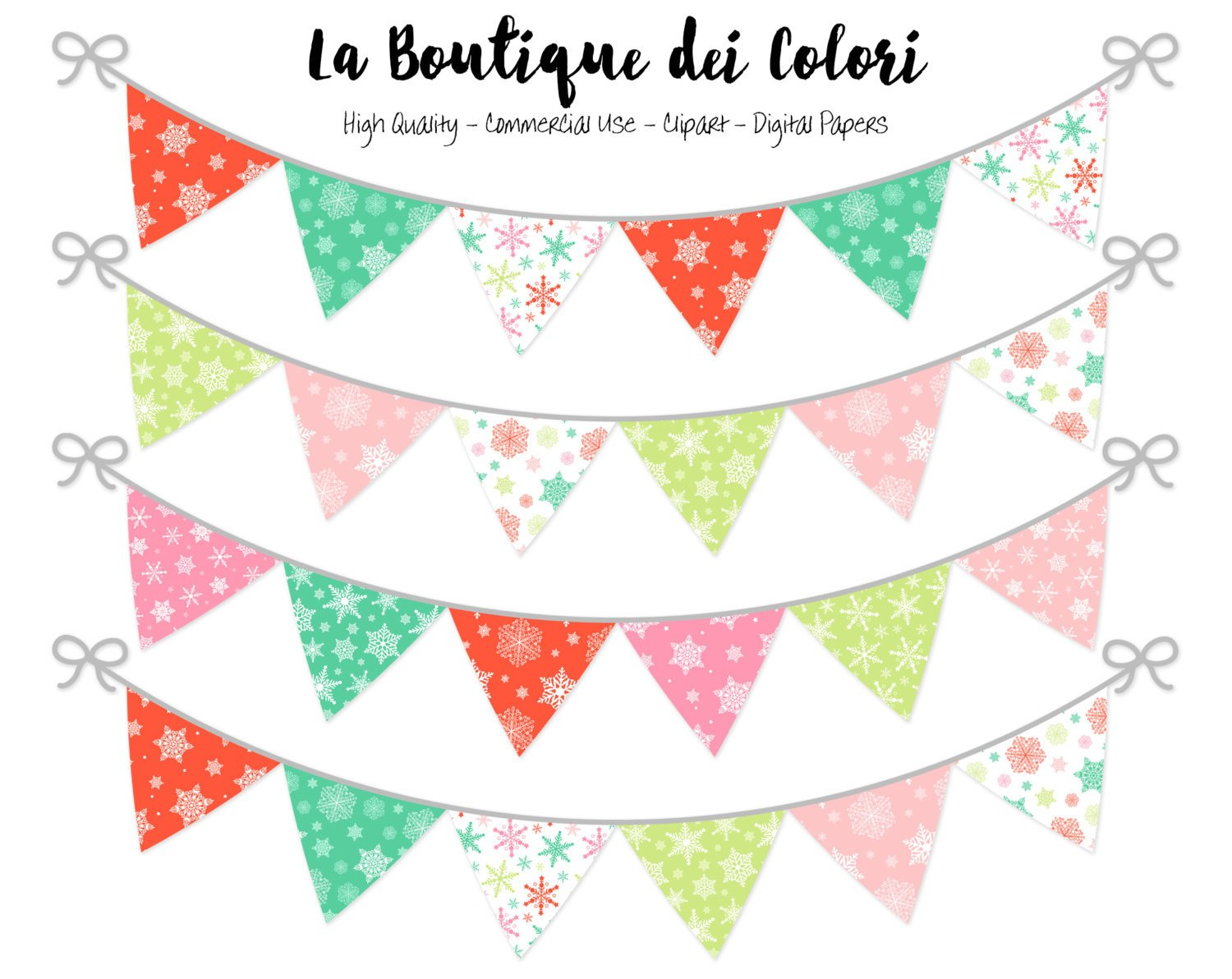 Christmas Bunting Banner Clipart.