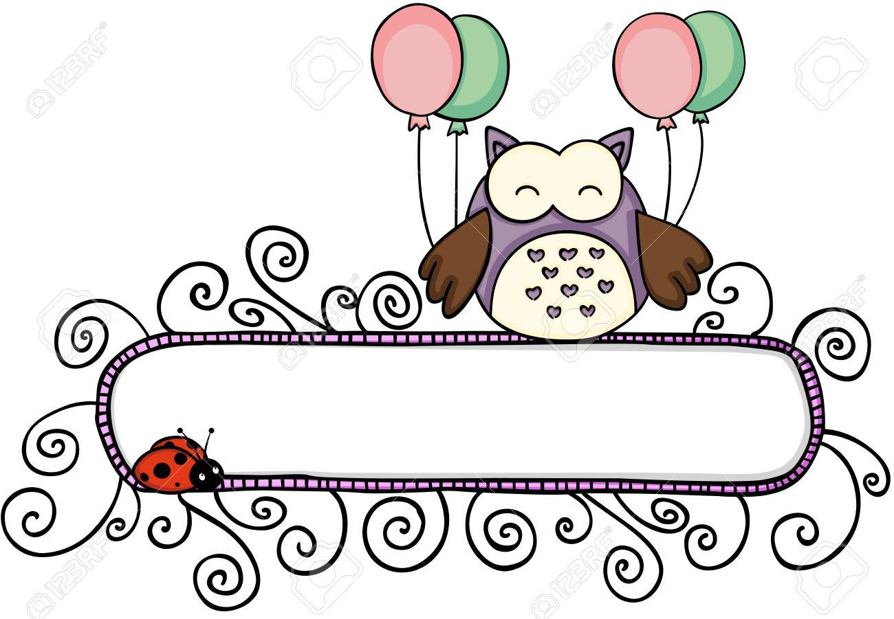 Blank banner with cute owl holding balloons.
