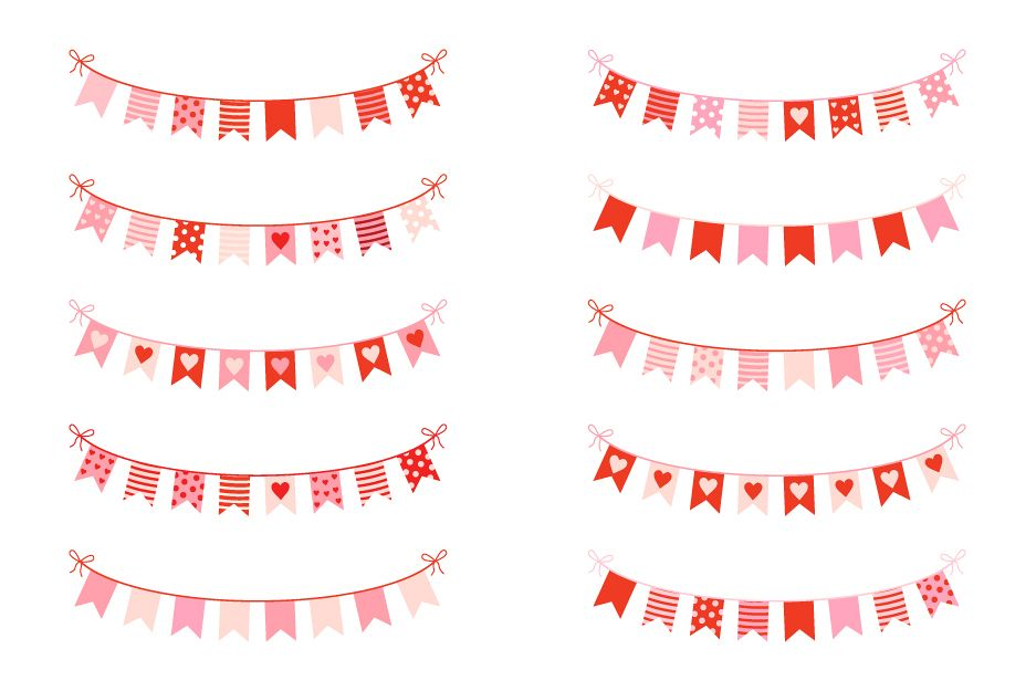Cute love bunting clipart, Valentine banners clip art.