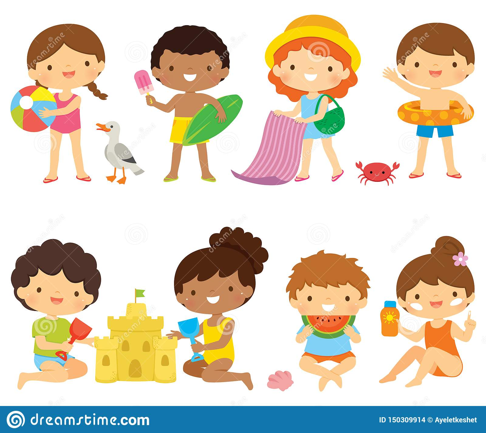 Kids At The Beach Clipart Set Stock Vector.