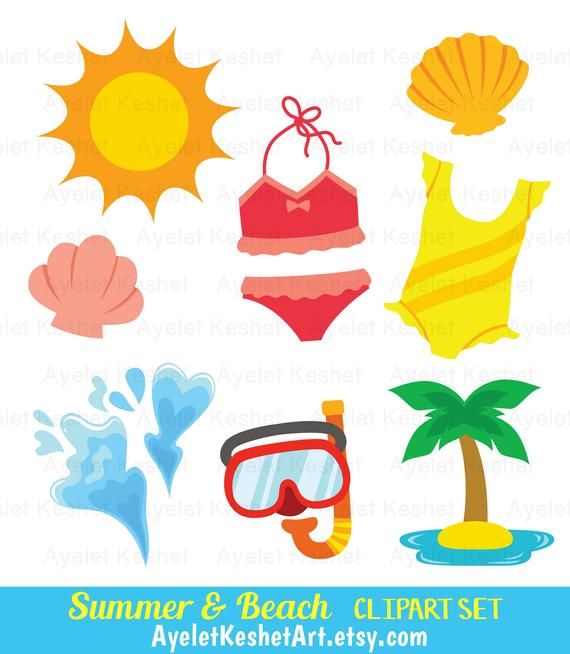 Summer clipart set. Cute beach clipart bundle for personal & commercial  use. PNG and EPS vector files, instant download of digital clipart..
