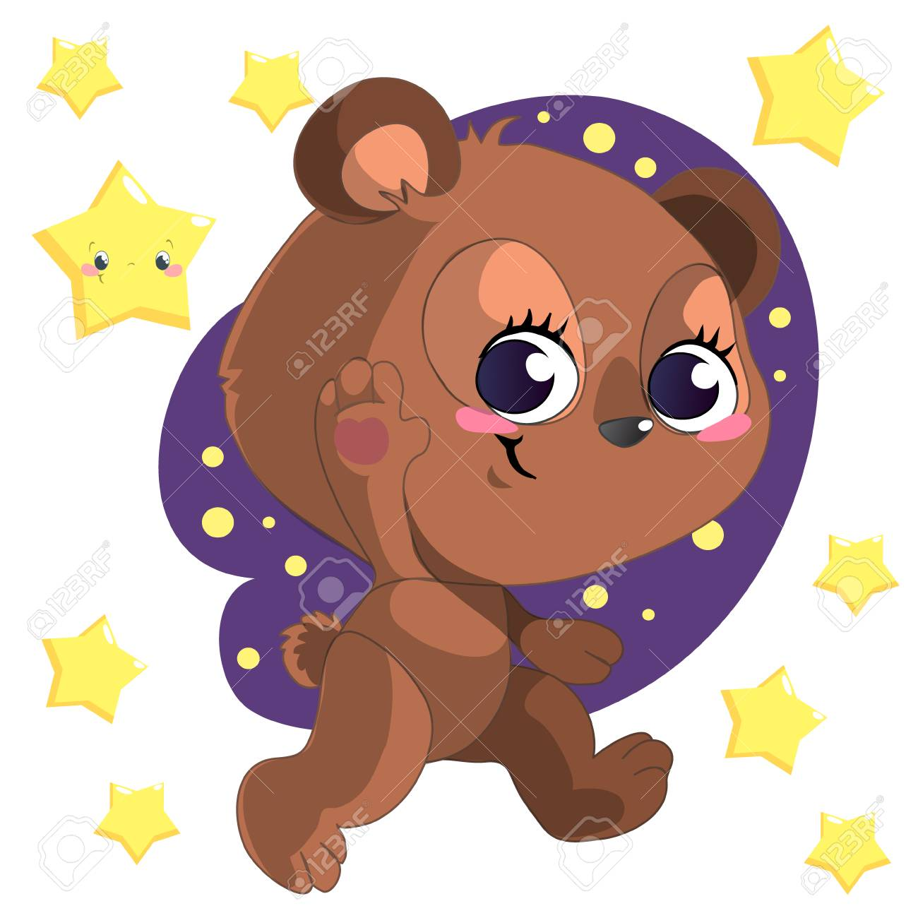 Funny cute cartoon bear clipart vector with stars.