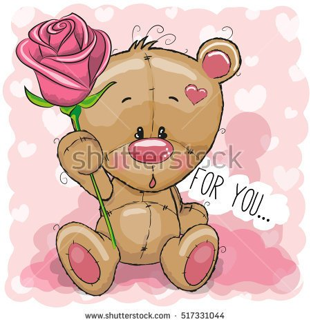 cute bears with pink flowers clipart #13
