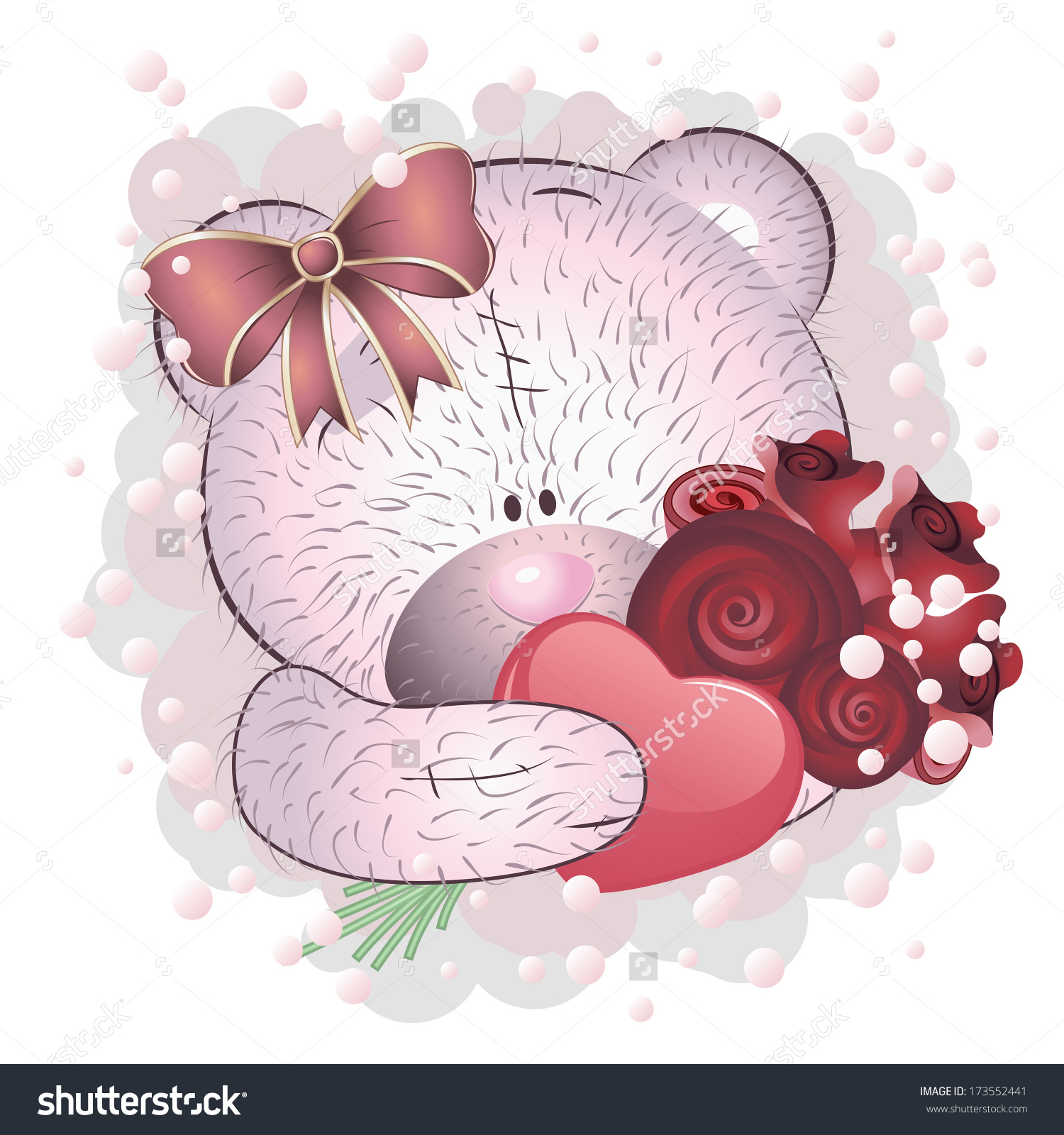 cute bears with pink flowers clipart - Clipground
