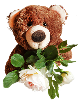 Cute Bears With Pink Flowers Clipart.