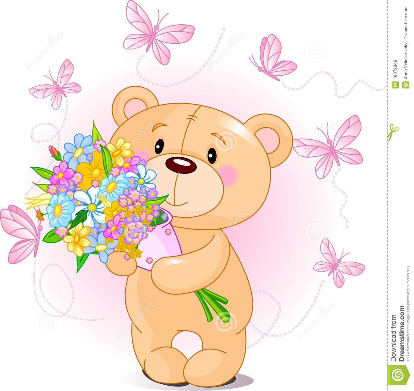 Cute Bears With Pink Flowers Clipart Clipground