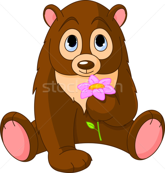 Cute Bear holding flower vector illustration © Anna Velichkovsky.