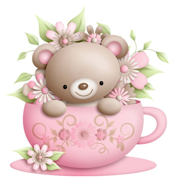 cute bears with pink flowers clipart #5
