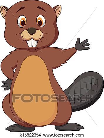 Cute beaver cartoon waving Clipart.