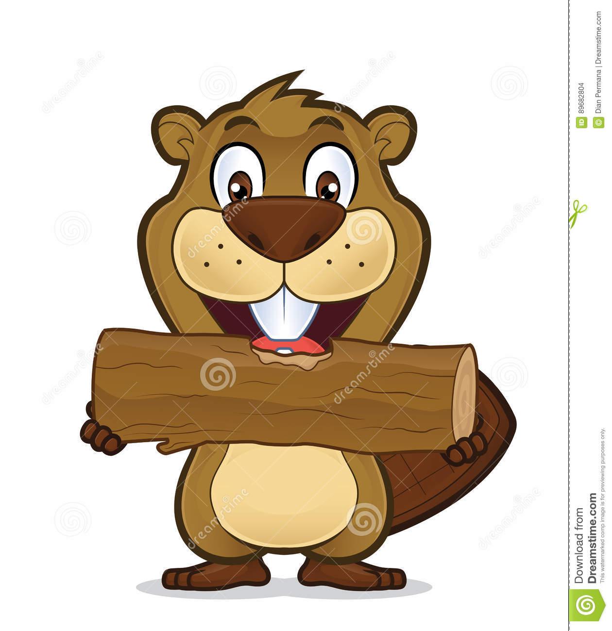 Beaver eating wood stock vector. Illustration of bear.