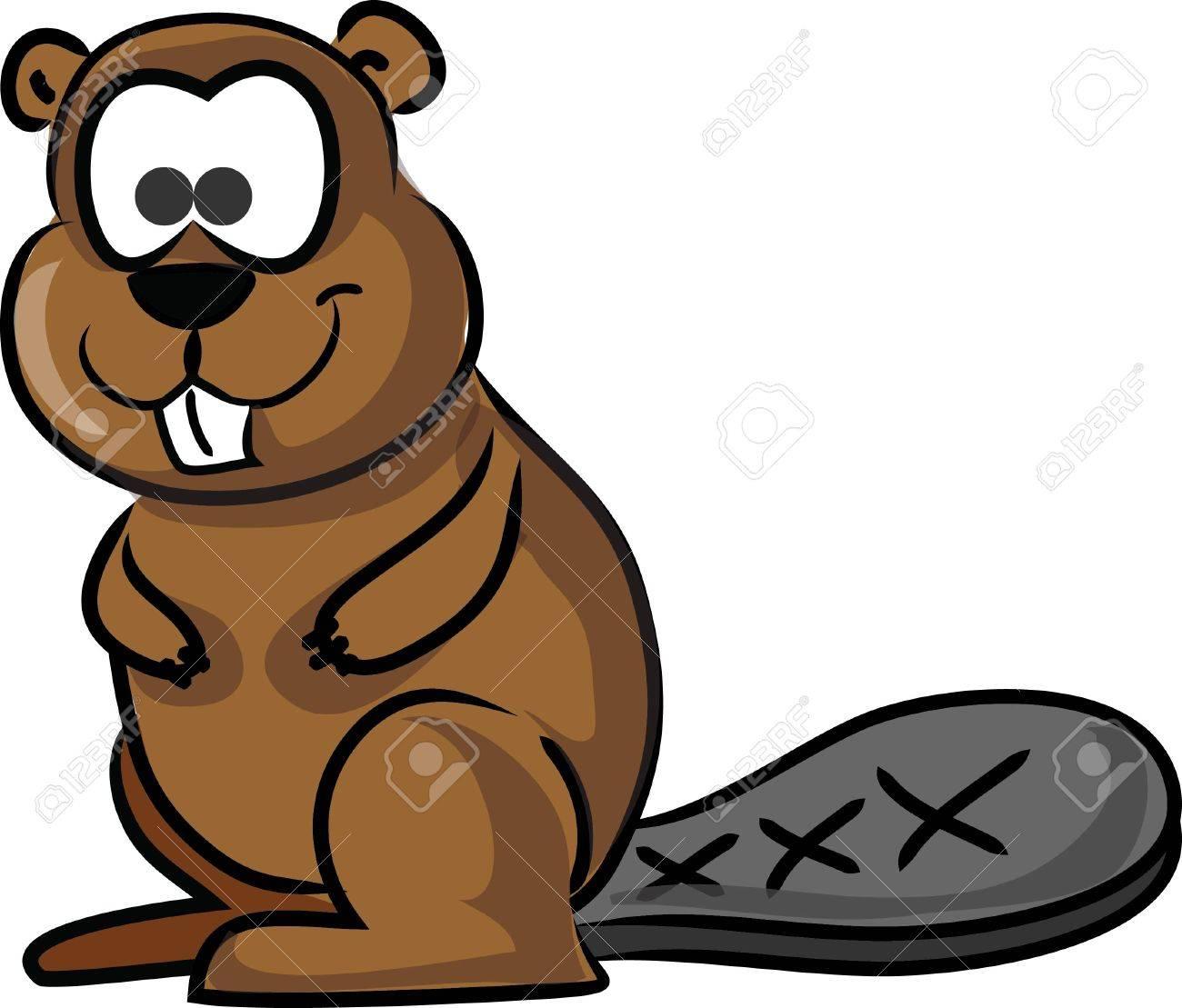 Cartoon cute beaver.