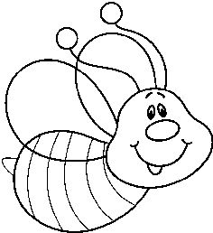 Cute bee clipart black and white.