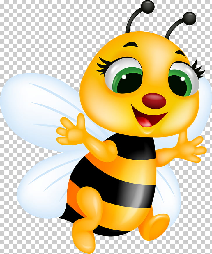 Bee , Cute bee, animated yellow bee illustration PNG clipart.