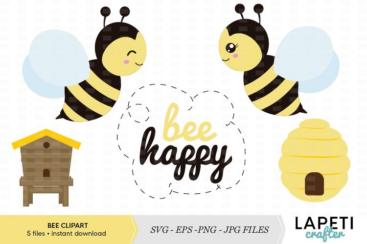 Cute bee clipart vector illustration collection.