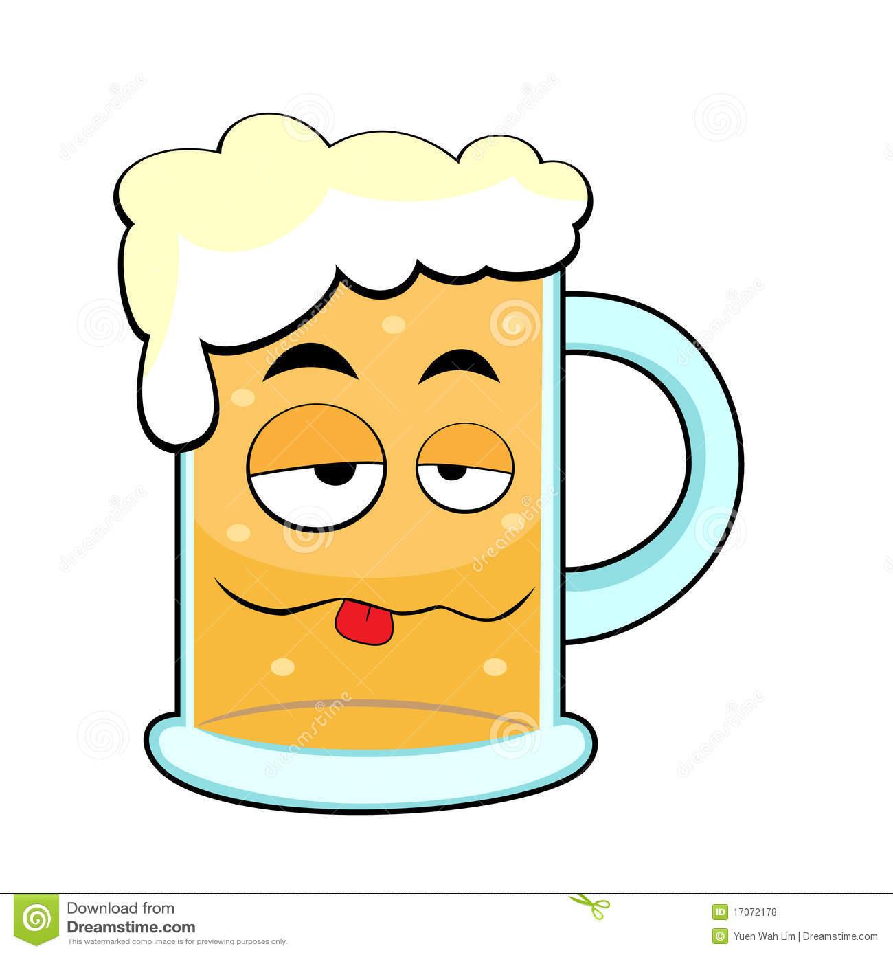 Cute Drunk Beer Mug Royalty Free Stock Photos.