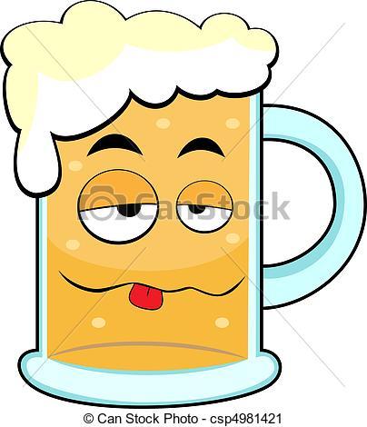 Vector Clip Art of cute drunk beer mug.