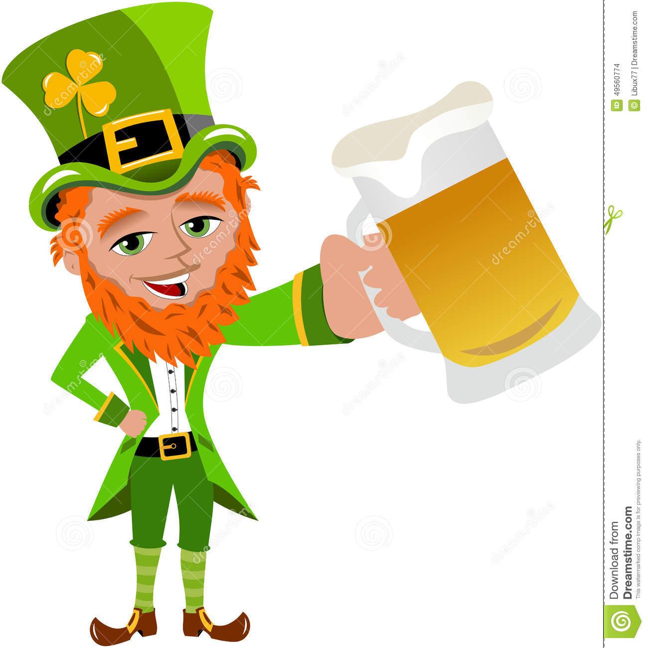 Beer stein Cute cartoon leprechaun with beer St Patricks clipart.