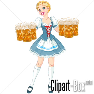 CLIPART CUTE BEER WAITRESS.