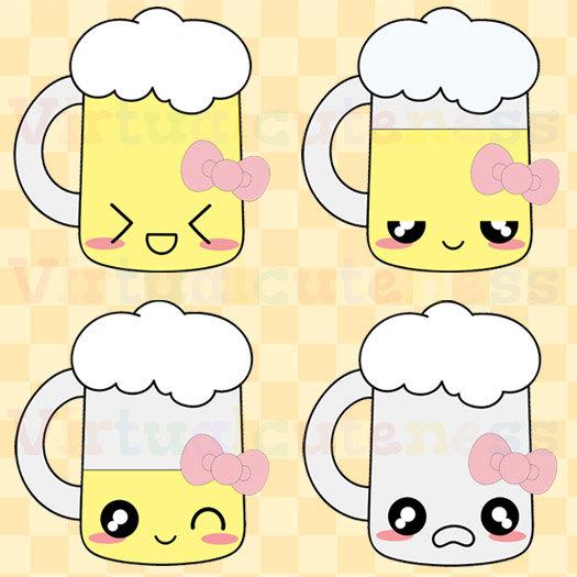 Kawaii Beer Clip Art Alcohol Clipart Cute Beer Mug Digital.