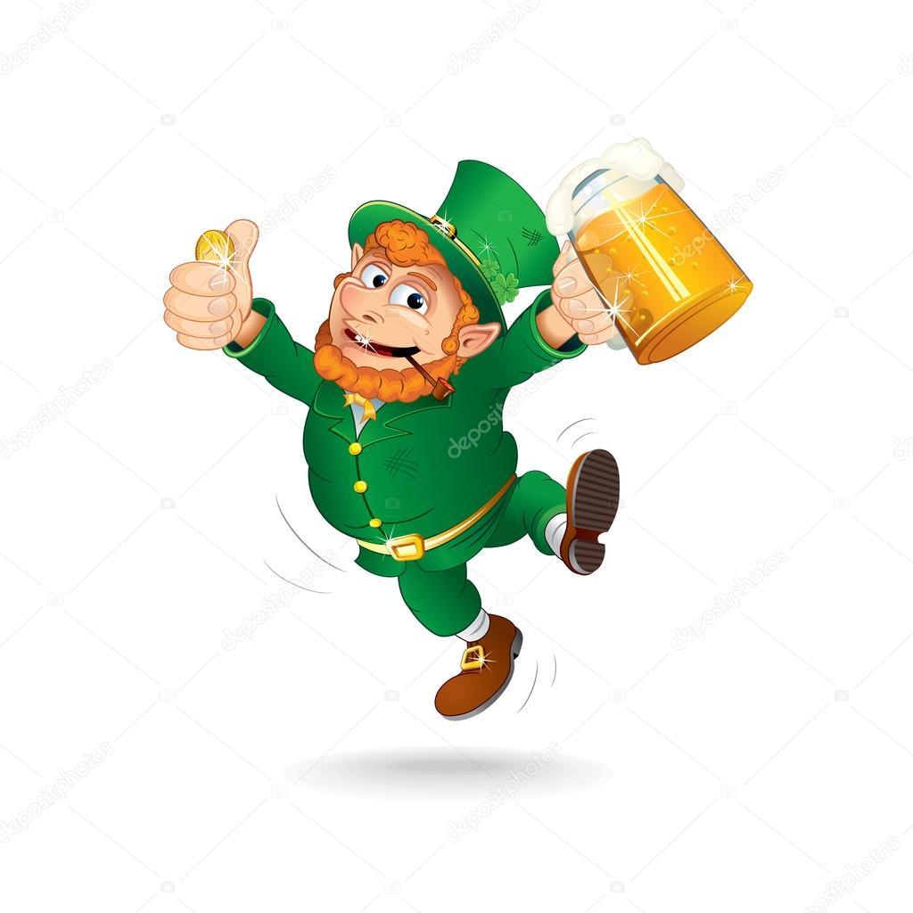 Cute Jumping Leprechaun. Isolated Cartoon Image — Stock Vector.