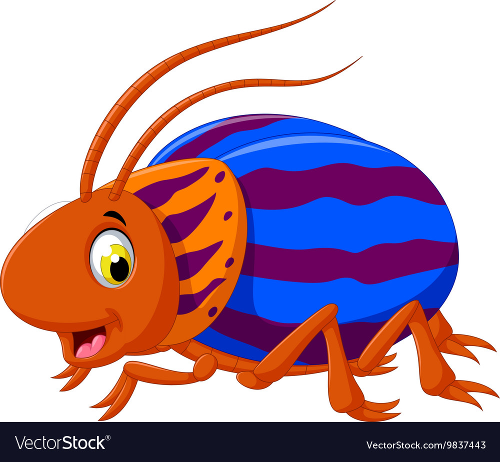 Cute saperda beetle cartoon posing.