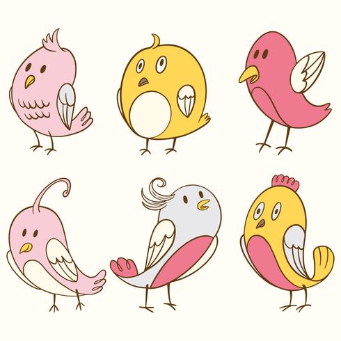 Cute Bird Clipart Element Set.