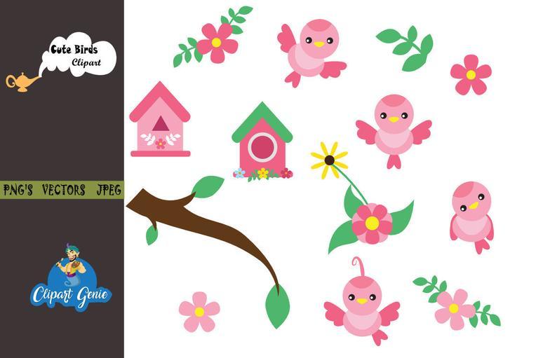 Cute Bird Clipart, Cute Birds, Birds Clipart, Birds Clip Art, Cute Bird,  birds clipart, bird vector, Chatter Birds, Digital downloads.