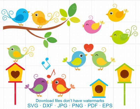 Cute Birds Clipart SVG, Singing Bird, Little Love Bird, Branch, Bird House  SVG DXF Silhouette Cricut Cut Files Commercial use.