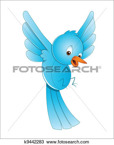 Clipart of Cute Bird Flying k9442283.