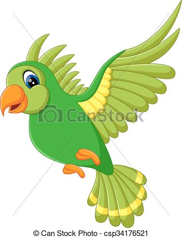 Vector Illustration of Cute bird flying.