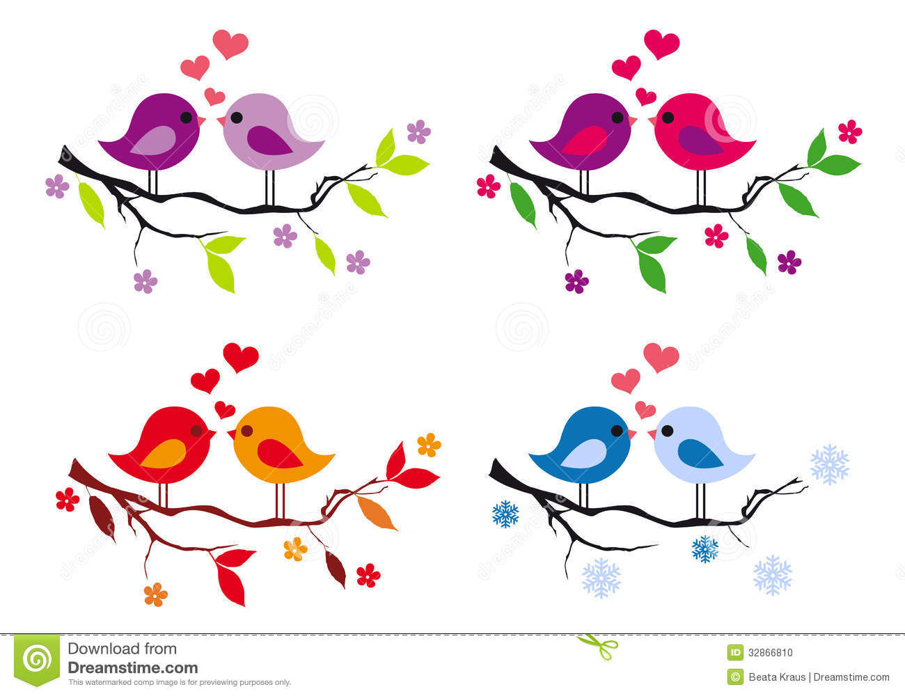 Cute Birds With Red Hearts On Tree, Vector Set Stock Photo.