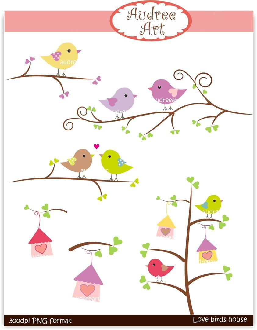 Clip art. Valentine , Love Birds on the branch 2, Download and.
