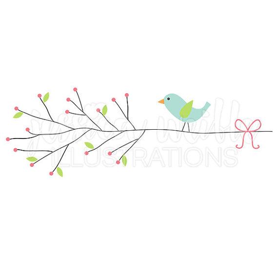 Little Bird Berry Branch Cute Digital Clipart, Cute Bird Clip art.