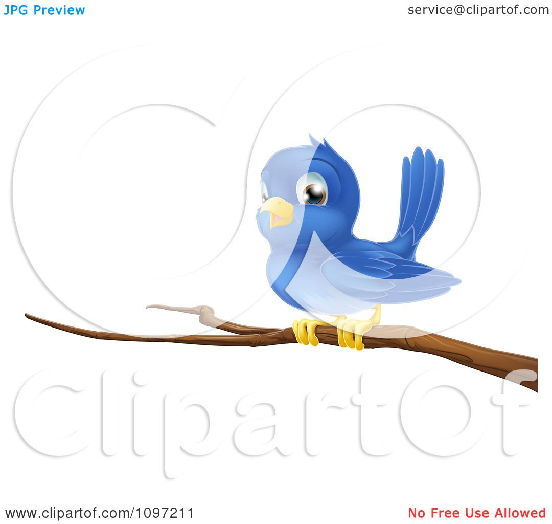 Clipart Cute Blue Bird Perched On A Bare Tree Branch.