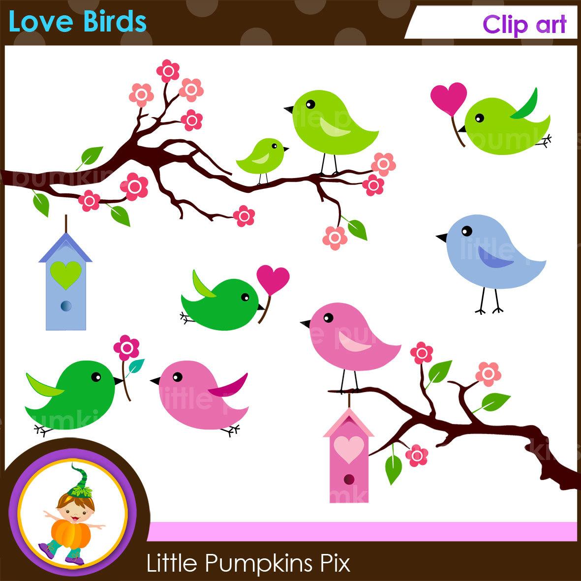 LOVE BIRDS Clipart, Cute Little Birds Clipart, Graphics Birds.