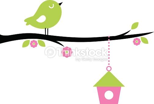 Cute Spring Bird On Tree Branch Vector Art.