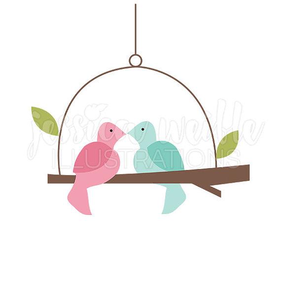Love Bird Swing Cute Digital Clipart, Cute Bird Clip art, Bird.