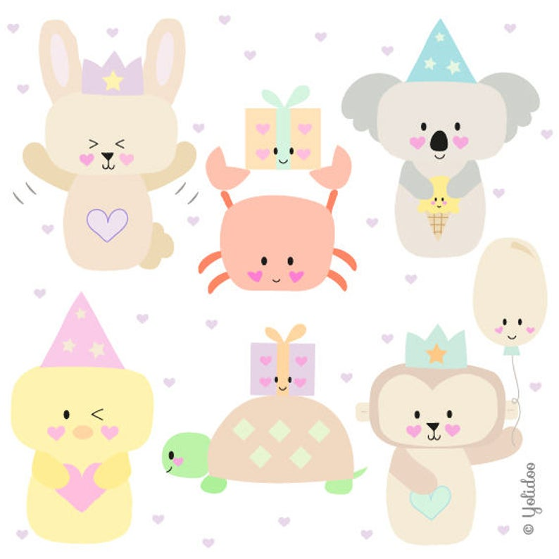 Cute Birthday Animal Clipart Set.