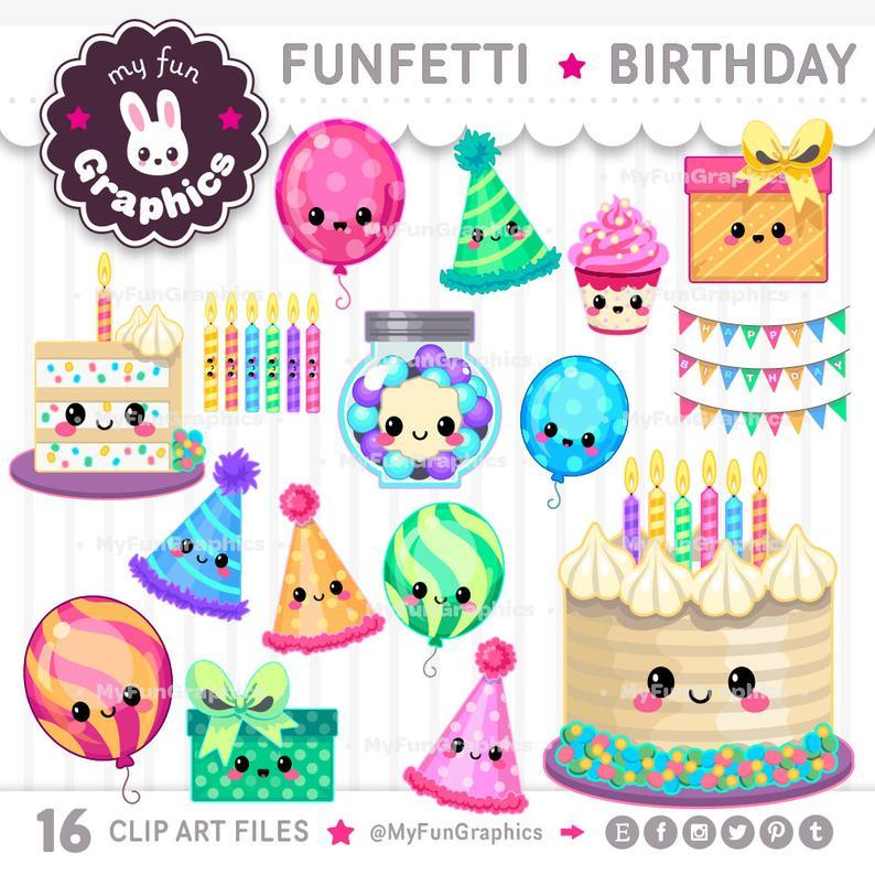 Funfetti Birthday Kawaii Clip Art, Cute Birthday Clipart.