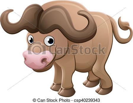 EPS Vector of Bison Buffalo Animal Cartoon Character.