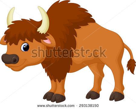 Cute Bison Cartoon Stock Illustration 437894869.