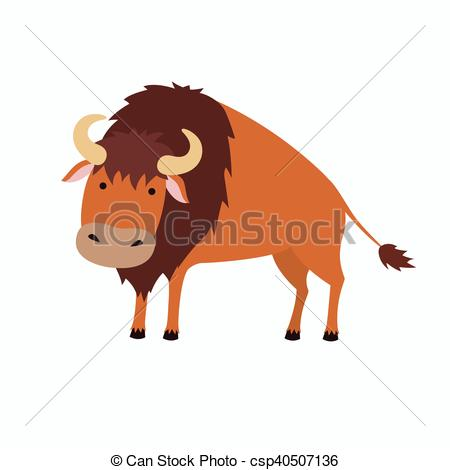Vectors of Cute bison cartoon. Illustration for children. Isolated.