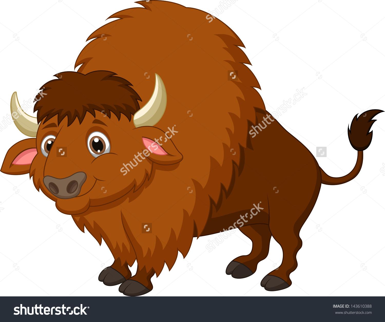Cute Bison Cartoon Stock Illustration 143610388.