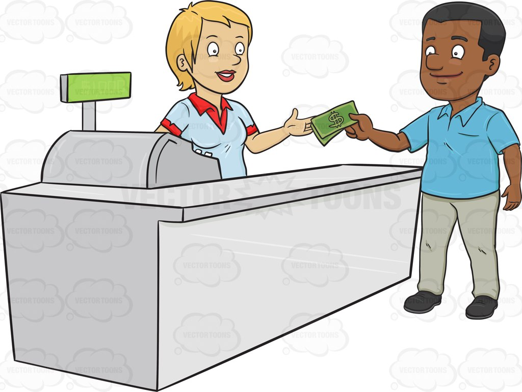 A Black Man Paying The Cashier One Thousand Dollars.