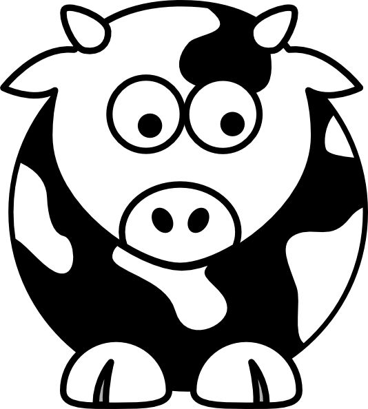cute black and white cow clipart #7